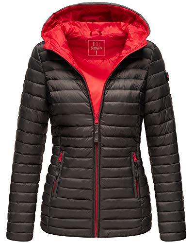 MARIKOO Damen Jacke Steppjacke mit Kapuze Übergangsjacke ASR21 (Anthrazit, S)