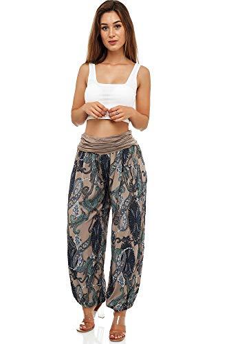 Damen Hosen Lang Bedrucken Pumphose Haremshose Sommerhose Yogahose Aladinhose Baggy Harem Stil mit Elastischen Bund (beige)