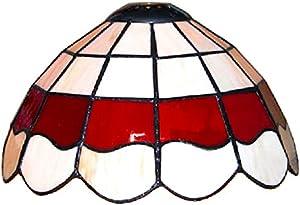 MiniSun - Paralume bello di vetrata colorata rossa e crema – nello stile del designer Louis Comfort Tiffany - per lampada a sospensione