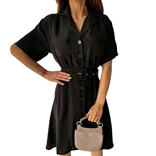 Vertvie Damesjurk, blouse met lange mouwen, losse V-hals, knielang, casual, oversize, longshirt, hemdjurk, strandjurk met zakken