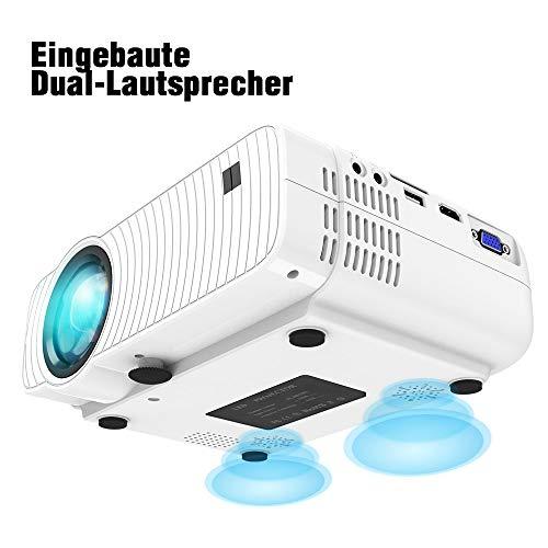 "Mini Beamer, ELEPHAS 4500 Lumen Tragbarer LED Projektor, unterstützt 1080P, Max 180 ""Display, 50000 Stunden Lampenlebensdauer, kompatibel mit USB / HD / SD / AV / VGA. MEHRWEG - 8"