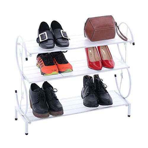 ZZYE Zapatero Zapato Blanco 3 Niveles apilable Pasillo Torre de Almacenamiento Organizador Estantes de Metal Compacto Perchero Zapatero