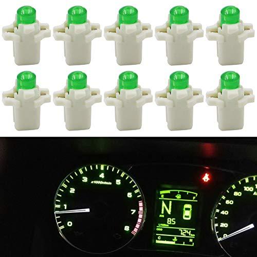 TABEN - Pack de 10 bombillas LED COB-1SMD de 12 V, tipo B8.3D, para panel de instrumentos luces indicadoras de salpicadero de coche, color blanco