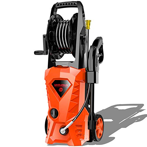 WHOLESUN 3000PSI Electric Pressure Washer 2.4GPM Power Washer 1800W High Pressure Cleaner Machine with 4 Nozzles Foam Cannon,Best for Cleaning Homes, Cars, Driveways, Patios (Orange)
