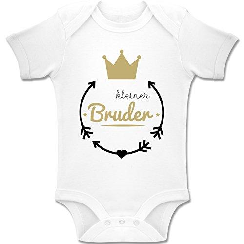 Shirtracer Geschwisterliebe Baby - Kleiner Bruder - Krone - 1/3 Monate - Weiß - BZ10 - Baby Body Kurzarm für Jungen und Mädchen