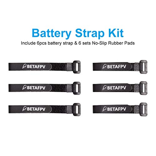 BETAFPV 6pcs Black Battery Strap Rubberized Lipo Straps with 6 Sets No-Slip Rubber Pads for 2-4S RC Battery Toothpick Frame Beta85X Frame