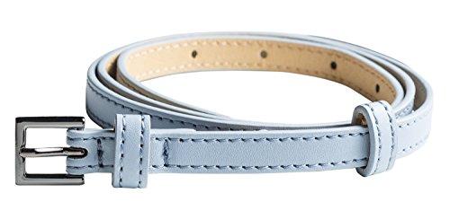 Hochwertiger Damen Gürtel 1cm breit für Hüfte & Taille mit beweglicher Zusatz-Schnalle - geeignet für Rock, Hose und Kleider, Farbe:hellblau, Gürtellänge:79-93 cm