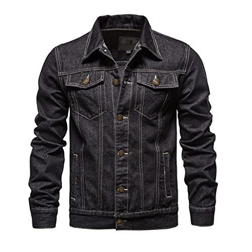 JJSPP Lapel Denim Jacket Men Casual Solid Color Streetwear Jeans Jacket Men Autumn Slim Fit Men's Jackets (Color : A, Size : Asia 5XL 92-100 kg)