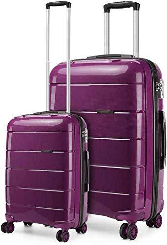2 sets de bolsas portátiles y grandes maletas rígidas ligeras,Purple