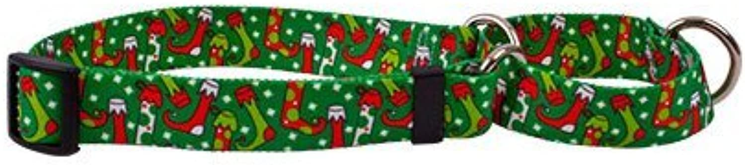 Christmas Stockings Martingale Control Dog Collar  Size Extra Small 10  Long  Made in The USA