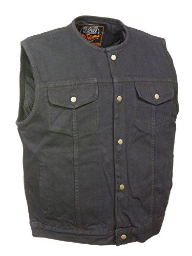 Men's SOA Anarchy Style Denim Vest w/One Inside Concealed Weapon Gun Pockets (Large, Black Collarless)