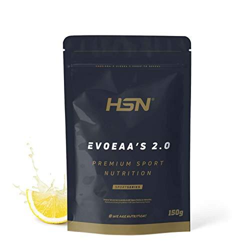 Aminoácidos Esenciales en Polvo de HSN EvoEAAs | 9 Aminoácidos Esenciales | Para Ganar Masa Muscular + Recuperador Muscular + Bebida Intra Entreno | Vegano, Sin Gluten, Sin Lactosa, Limón, 150g