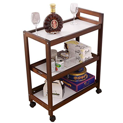 Chariot de Service de Bar à vin de Service d'utilité, Chariot de Stockage de thé de Salle à Manger, Support d'organisateur, étagères pour la Salle de Bain de Cuisine de Salon (Brown)