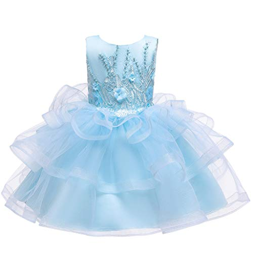 Flower Girl Dress Floral Princess Bridesmaid Pageant Gown Birthday Party Wedding Dress,Vintage Formal Dress(Light Blue,4-5 Years)