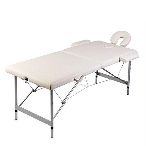 Table de Massage Pliante en 5% Polyester 95% PVC 2 Zones Cadre en Aluminium 186 x 68cm(L x l) Crème