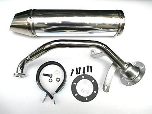 NEW! High Performance Exhaust System Muffler for GY6 139QMB QMB139 1P39QMB 4 Stroke 50cc 150cc Scooters (150CC, Silver)