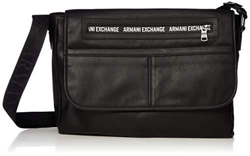 A|X Armani Exchange Herren Leather Messenger Bag Kuriertasche, schwarz, Einheitsgröße