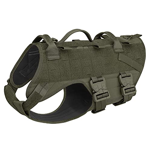 PETAC GEAR Tactical Dog Harness K9 Military Dog Training Harness Adjustable Police Service Dog Puppy Working MOLLE Vest for Small Little Dogs Mals GSD Lab…