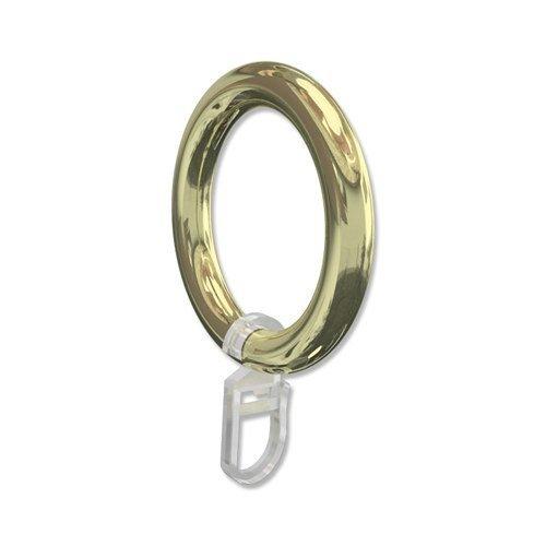 INTERDECO Gardinenstangen Ringe mit Faltenhaken/Gardinenringe in Messing-farbig/Kunststoff für 28 mm Ø (10 Stück)