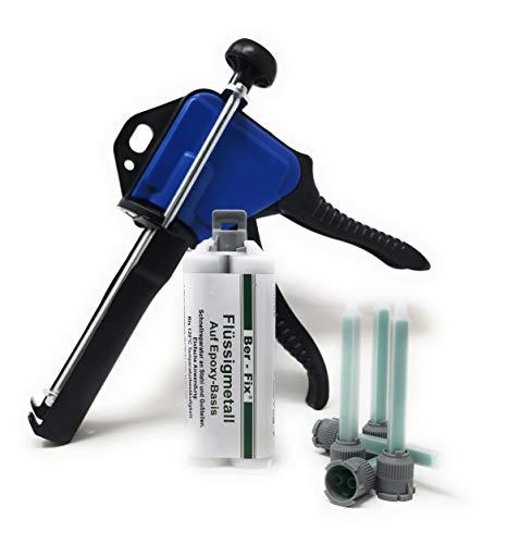 Ber-Fix® 50g Flüssigmetall mit 5x Spitzen mit 2k Kleber Pistole - Harz und Härter - Klebstoff für Metall bei Auto   Boot  Motorrad