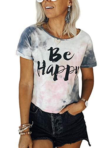 CORAFRITZ Camiseta de manga corta con cuello redondo y estampado de letras para mujer