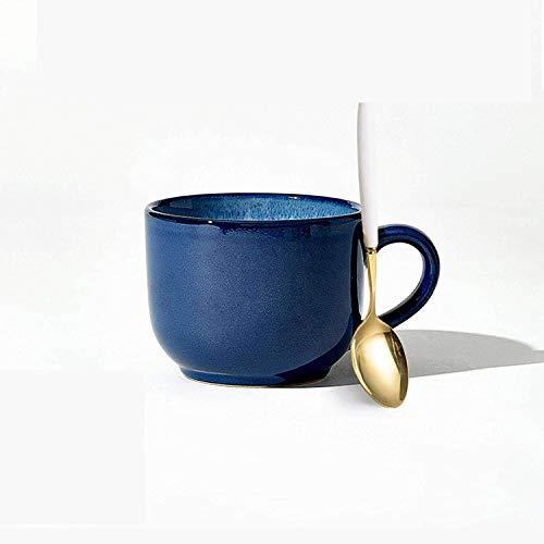 GGJB Keramik-Suppentassen mit Grifflöffel, große Kaffeetasse Milchgetreide Cappuccino-Teetasse Geschirrspüler Mikrowellen-sichere Suppentasse (Blue+Spoon)