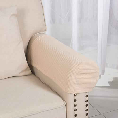 Armrest Covers Anti-Slip Waterproof Furniture Protector Armchair Slipcovers for Recliner Sofa Set of 2(Beige)
