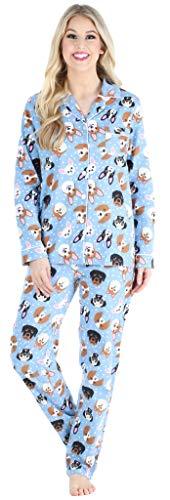 PajamaMania Women's Cotton Flannel Long Sleeve Button-Down Pajamas PJ Set, Blue Dogs, LRG