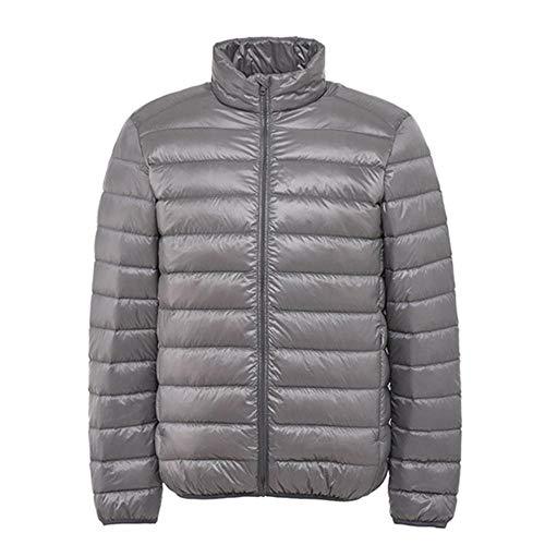 ADXD Parka Jacke für Herren ohne Kapuze, warme Jacke, Jacke, Ultraleggeri, Winterjacke, langes Daunen, Casual NY-9428 XXL Silber grau