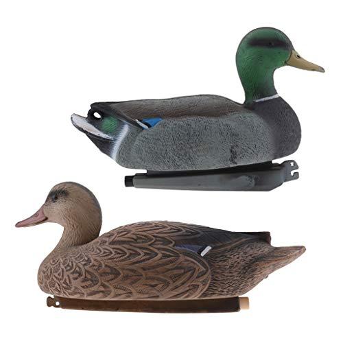 F Fityle 2pcs Dekorative Enten Stockente Teichdeko Schwimmente Lockvogel für Teich und Garten