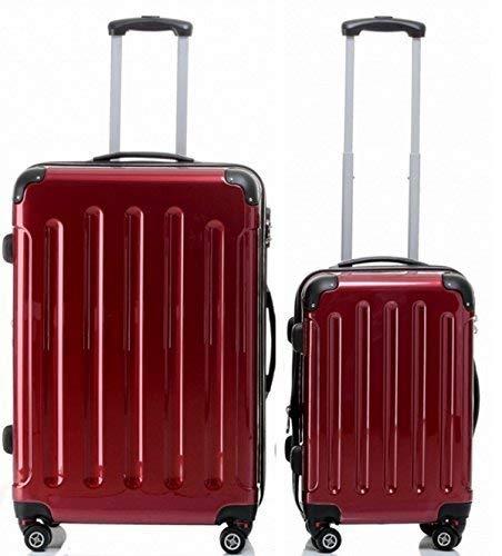 BEIBAY Spar-Bundle Hartschalen-Trolley 75cm + Kabinentrolley 55 cm, 4 Rollen, Dehnfalte, schwarz, Silber oder rot, Trolley - Koffer (rot)