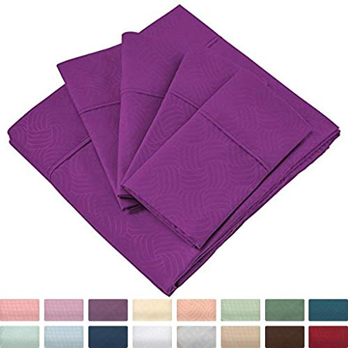 Cosy House Collection King Size Sheets Set - 6 Piece - King Sheets - Silky Soft - Hypoallergenic - Deep Pocket - Elegant Patterns - Stain, Fade & Wrinkle Resistant - Violet - Wavy