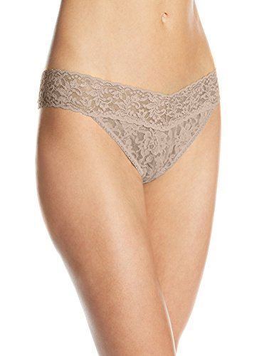 Hanky Panky Women's Signature Lace Original Rise Thong Panty, Taupe, One Size