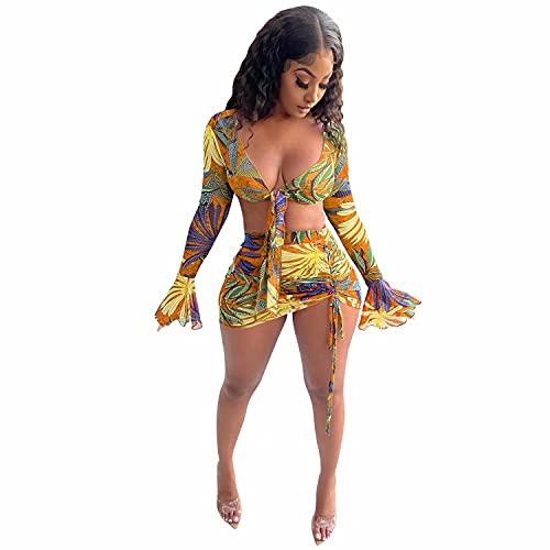 Women Sexy Mesh Mini Dress Bell Sleeve Bohomian Floral Sheer Bow Cover Up Shirts Pencil Bodycon Skirt Nightout Yellow L