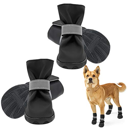 SCENEREAL Dog pet Puppy Shoes Boots Socks Waterproof Shoes Reflective Strape Anti-Slip 4 Pack Wear-Resistant Dogs Booties Sports Walking Dog Shoes Protective for Large Medium Small