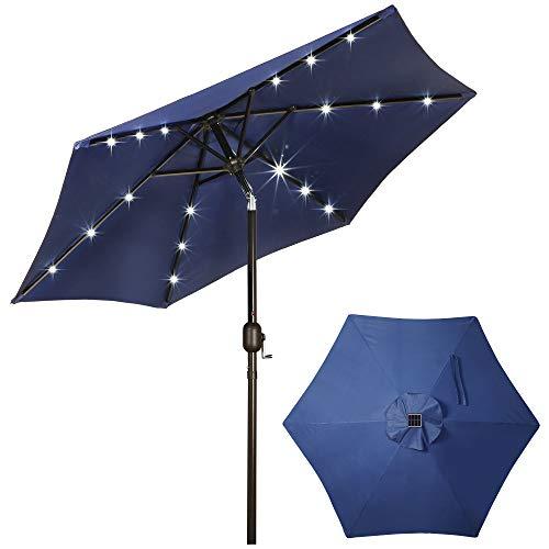 Blissun 7.5 ft Solar Umbrella 18 LED Lighted Patio Umbrella Table Market Umbrella with Tilt and Crank Outdoor Umbrella for Garden, Deck, Backyard, Pool and Beach, Navy Blue