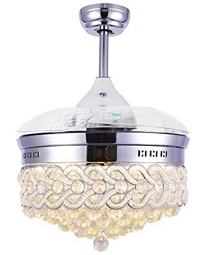 """42"""" Modern Crystal Ceiling Fan with Light, Crystal Chandelier with Remote Control, Retractable Blades, CCT Dimmable LED Lights, 2 Downrods Adjustable for Dining/Living Room Bedroom"""