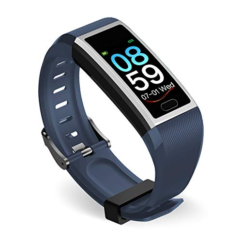 LXF JIAJU Smart Watch Pulsera Bluetooth Fitness Tracker Fit Actitud Deporte Banda Pedómetro Muñeca Tasa del Corazón para Android iOS iPhone (Color : Silver Blue)