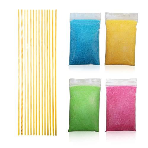 I WANT CANDY - Komplettpaket für Zuckerwatte  800 Gramm Premium Zucker + 30 Stäbchen aus unbehandeltem Naturholz   Beste Zucker- sowie Holzqualität für bunte Zuckerwatte