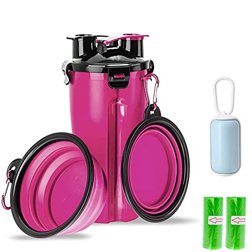 CHOOLOR Dog Water Bottle, 2 in 1 Pet Feeding Dispenser for Food and Drinking,Leakproof Portable Bottle with 2 Collapsible Bowls and 3 Poo Waste Bags for Outdoor Walking and Travel