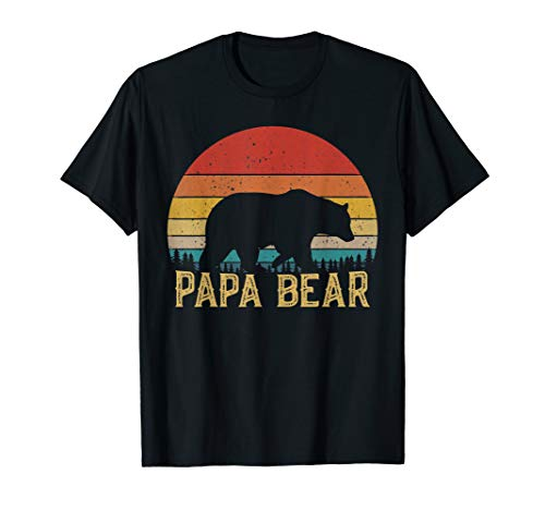 Retro Vintage Sunset Papa Bear Hiking Camping Hunting Gift T-Shirt