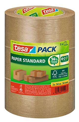 tesapack Papier Standard - Umweltschonendes Paketband aus Papier, 56 % biobasiertes Material - Effizient und recyclingfreundlich - Braun - 3x 50 m x 50 mm
