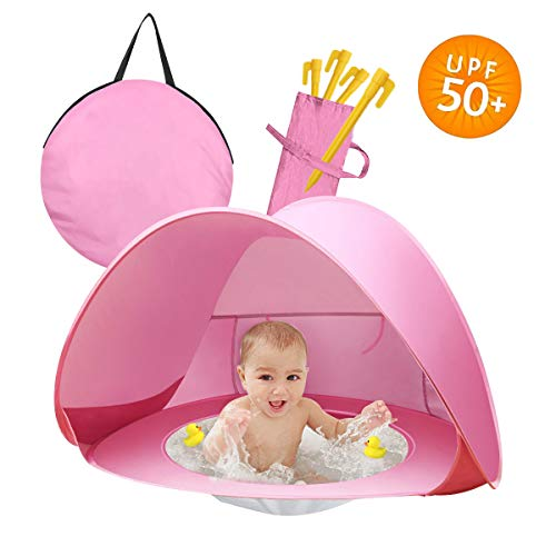 Homened Pop Up Baby Beach Tent, Portable Kiddies Shade Pool Tent 50 SPF UV Protection Sun Shelter Canopy for Infant Indoor and Outdoor Use (Pink)