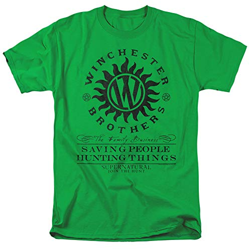 Supernatural Winchester Anti Possession Unisex Adult T Shirt for Men and Women, Kelly Green, X-Large