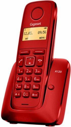 Gigaset A120 - Teléfono Inalámbrico, Agenda de 50 Contactos, Pantalla Iluminada, Color Rojo