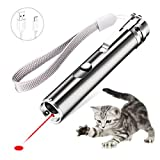 Meilostk Cat Interactive Toy Wand, USB Rechargeable Training Tool with Moon White Led Flashlight and UV Light for Cats and Dogs