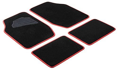 Walser Autoteppich Matrix, Universal Fußmatten, Automatten-Set schwarz/rot 29024