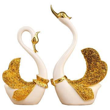 MASUNN paar zwanen ornament huis decoraties woonkamer tv-kast accessoires bruiloft geschenken, Goud, 1