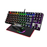 havit Teclado mecánicos Gaming español con Cable, Teclados Gaming con Interruptor Rojo de 90 Teclas, Ratón Gaming programables, Alfombrilla Gaming,para y PC/Netbook/Gamer