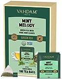VAHDAM, Orgánica Té Verde de Menta, (100 Bolsitas de Té) | Bolsas de Té de Menta FRESCA | Hojas Largas de Té Verde | Hojas de Menta y Hierbabuena 100% NATURAL